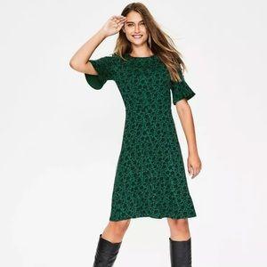 Boden Green Floral Jersey Dress